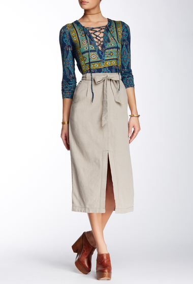 Imbracaminte Femei Free People Easy Breezy Linen Blend Skirt TAUPE