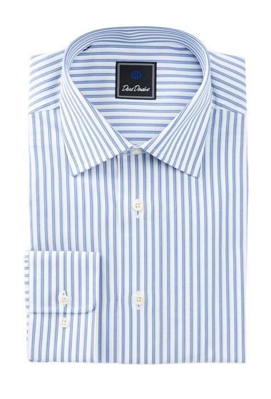 Imbracaminte Barbati David Donahue Long Sleeve Regular Fit Stripe Dress Shirt WHITE-BLUE