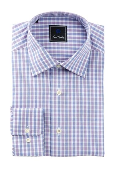 Imbracaminte Barbati David Donahue Long Sleeve Regular Fit Check Dress Shirt NAVY-PURP