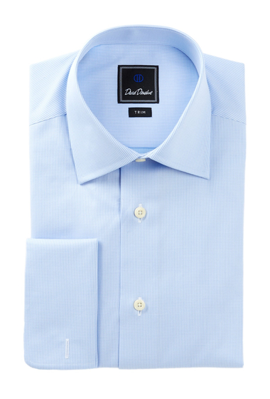 Imbracaminte Barbati David Donahue Long Sleeve Trim Fit Mini Houndstooth Dress Shirt SKY