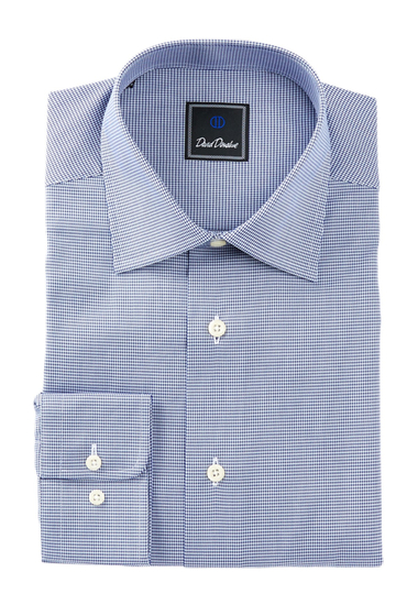Imbracaminte Barbati David Donahue Long Sleeve Regular Fit Mini Houndstooth Dress Shirt NAVY