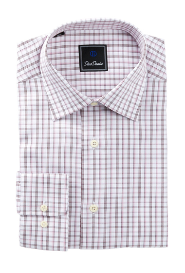 Imbracaminte Barbati David Donahue Long Sleeve Regular Fit Check Dress Shirt MERLOT