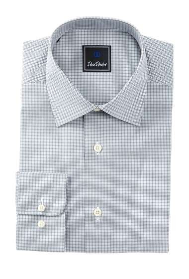 Imbracaminte Barbati David Donahue Long Sleeve Regular Fit Check Dress Shirt CHARCOAL