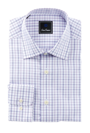 Imbracaminte Barbati David Donahue Long Sleeve Regular Fit Check Dress Shirt LILAC