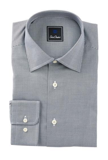 Imbracaminte Barbati David Donahue Long Sleeve Regular Fit Mini Houndstooth Dress Shirt BLACK-WHITE