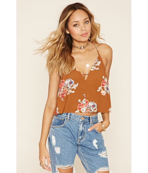 Imbracaminte Femei Forever21 Rose Print Cami Rustcoral