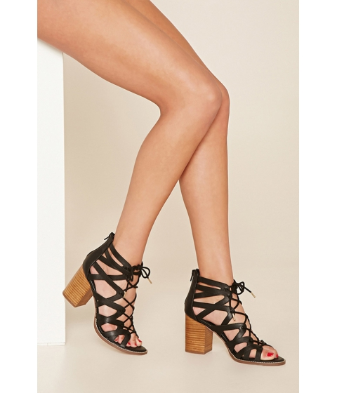 Incaltaminte Femei Forever21 Cutout Lace-Up Block Heels Black