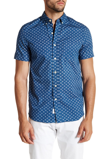 Imbracaminte Barbati Kennington Printed Woven Short Sleeve Trim Fit Shirt INDIGO