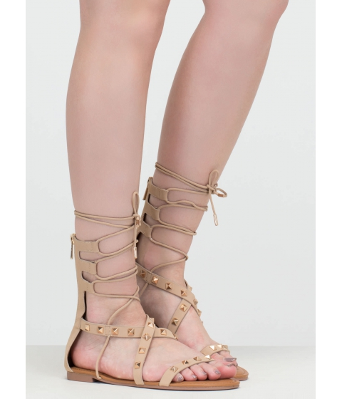 Incaltaminte Femei CheapChic Go Girl Faux Nubuck Studded Sandals Nude