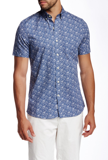 Imbracaminte Barbati Kennington Printed Short Sleeve Slim Fit Shirt INDIGO
