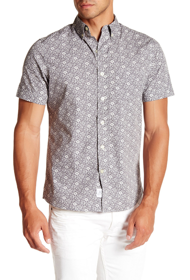 Imbracaminte Barbati Kennington Printed Short Sleeve Slim Fit Shirt PUTTY