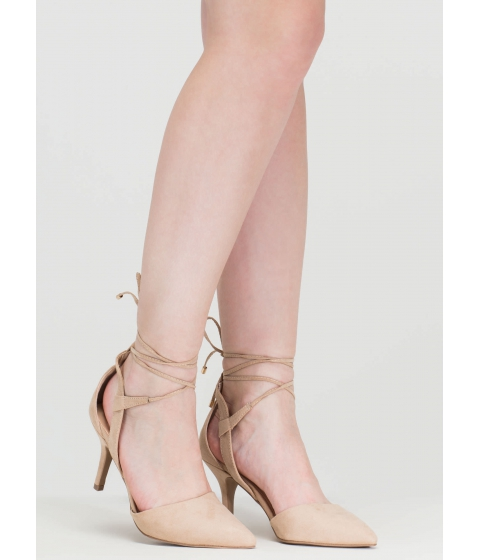 Incaltaminte Femei CheapChic Point Total Cut-out Lace-up Heels Natural