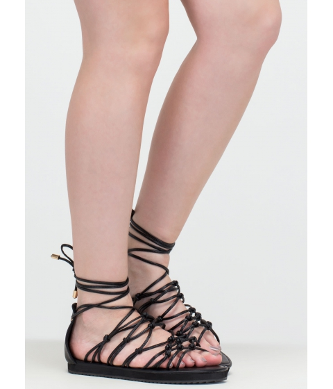 Incaltaminte Femei CheapChic World Traveler Knotted Lace-up Sandals Black