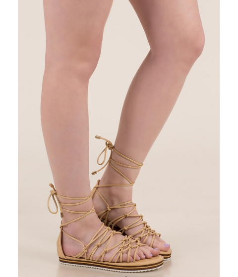 Incaltaminte Femei CheapChic World Traveler Knotted Lace-up Sandals Beige