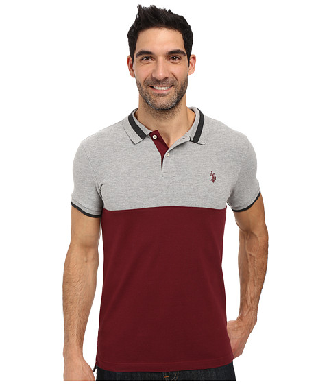 Imbracaminte Barbati US Polo Assn Short Sleeve Slim Fit Color Blocked Pique Polo Shirt Seagrams Burgundy