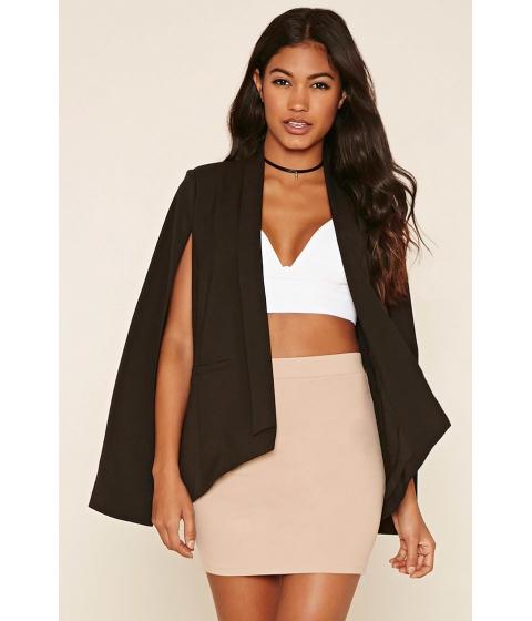 Imbracaminte Femei Forever21 Open-Front Tuxedo Cape Blazer Black