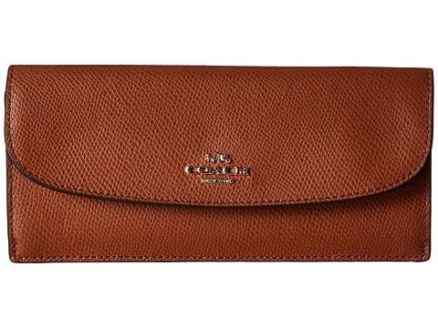 Genti Femei COACH Crossgrain Leather Soft Wallet Saddle