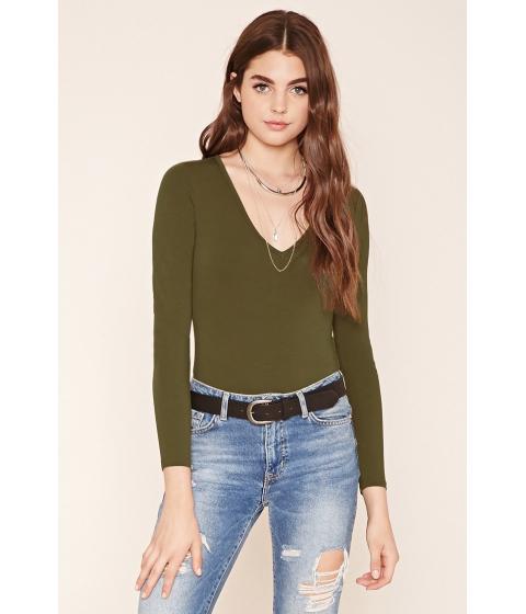 Imbracaminte Femei Forever21 V-Neck Bodysuit Olive