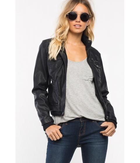 Imbracaminte Femei CheapChic Fleece Sleeve Leatherette Bomber Black