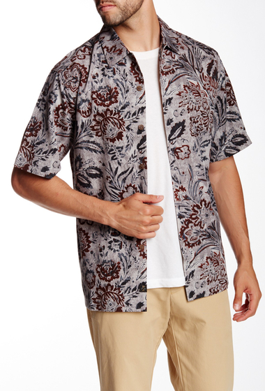 Imbracaminte Barbati Tommy Bahama Garden of Blooms Short Sleeve Regular Fit Silk Shirt BLACK