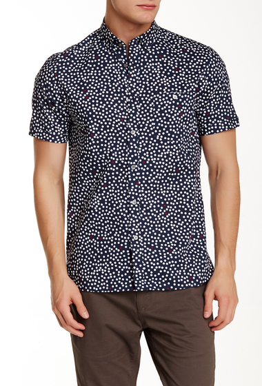 Imbracaminte Barbati Ted Baker London Short Sleeve Dot Slim Fit Sport Shirt NAVY