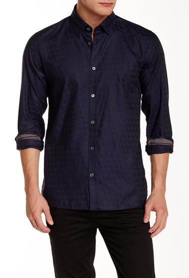 Imbracaminte Barbati Ted Baker London Thomaz Long Sleeve Dogtooth Trim Fit Shirt NAVY
