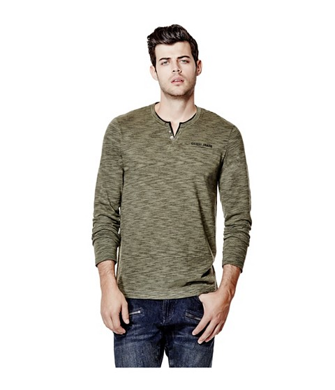 Imbracaminte Barbati GUESS Moselle Long-Sleeve Marled Henley army