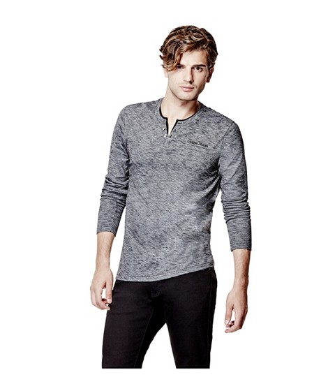 Imbracaminte Barbati GUESS Moselle Long-Sleeve Marled Henley jet black