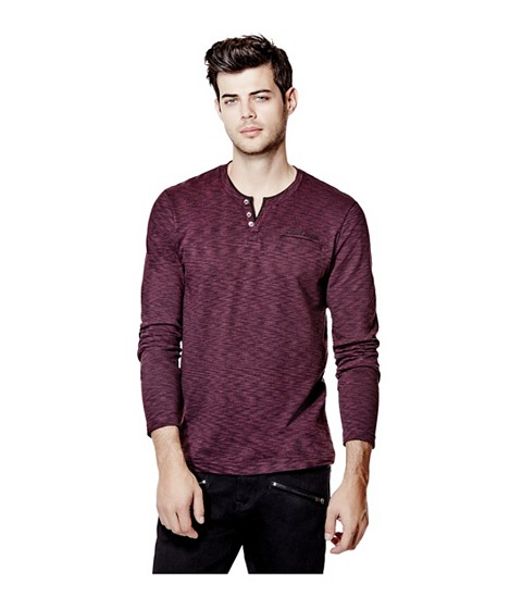 Imbracaminte Barbati GUESS Moselle Long-Sleeve Marled Henley marmont red