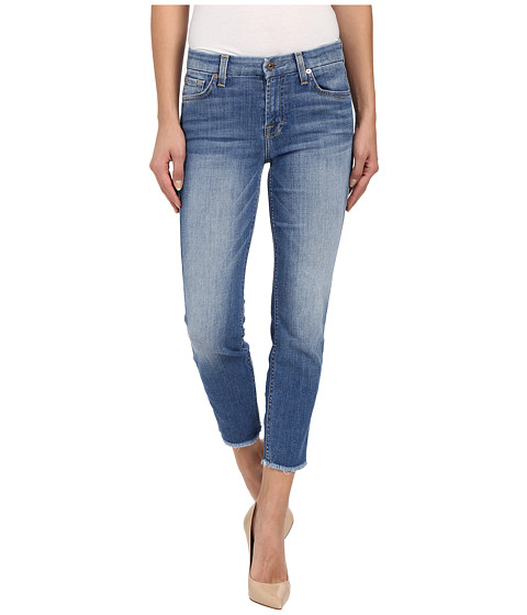 Imbracaminte Femei 7 For All Mankind Kimmie Crop w Raw Hem in Vivid Authentic Blue Vivid Authentic Blue