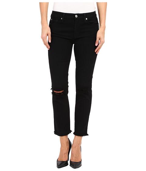 Imbracaminte Femei 7 For All Mankind Cropped High Waist Vintage Straight w Raw Hem amp Knee Holes in BlackHoles BlackHoles