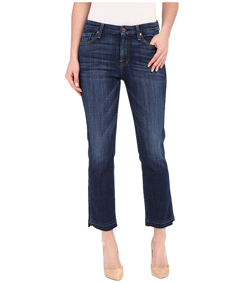Imbracaminte Femei 7 For All Mankind Cropped High Waist Vintage Straight w Released Hem in Brilliant Blue Broken Twill Brilliant Blue Broken Twill