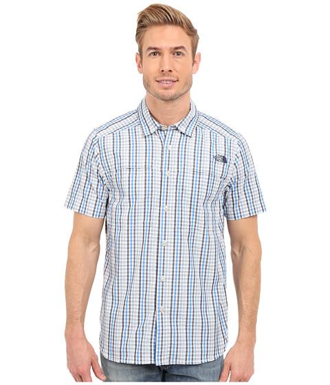 Imbracaminte Barbati The North Face Short Sleeve Traverse Plaid Shirt Cosmic BlueFaded Denim Plaid (Prior Season)