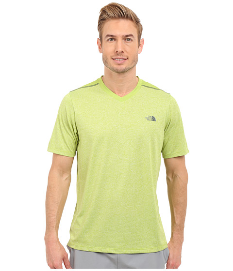 Imbracaminte Barbati The North Face Reactor Short Sleeve V-Neck Macaw Green HeatherMacaw Green