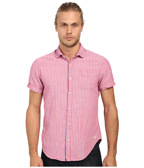 Imbracaminte Barbati Scotch Soda Relaxed Short Sleeve Shirt in Crinkled Linen Quality Pink