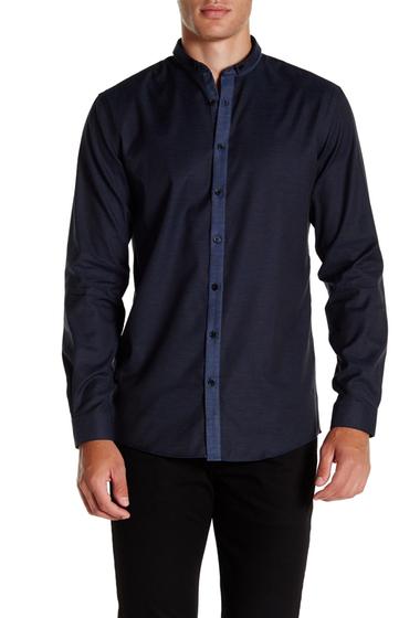 Imbracaminte Barbati Lindbergh Long Sleeve Narrow Collar Shirt Dk Blue