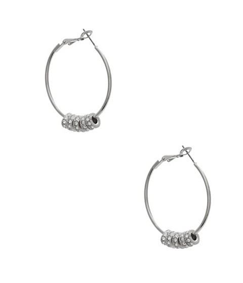Bijuterii Femei GUESS Silver-Tone Pave Beaded Hoops silver