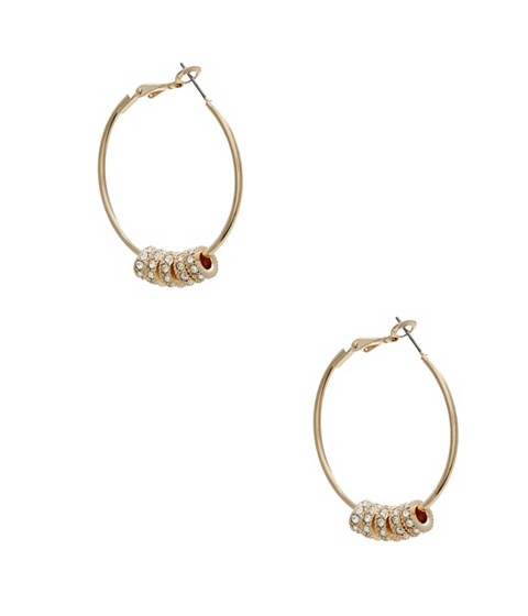 Bijuterii Femei GUESS Gold-Tone Pave Beaded Hoops gold