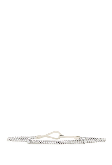 Accesorii Femei AK Anne Klein 10mm Braided Metallic Pan Belt SILVER