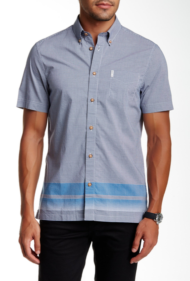 Imbracaminte Barbati Ben Sherman Short Sleeve Regular Fit Micro Gingham Shirt 891OCEAN B