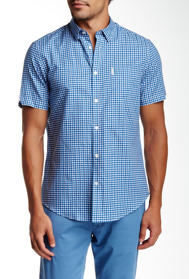Imbracaminte Barbati Ben Sherman Short Sleeve Regular Fit Plaid Shirt 891OCEAN B