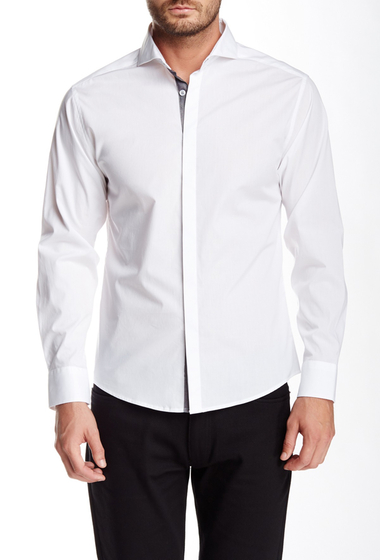 Imbracaminte Barbati Vince Camuto Long Sleeve Slim Fit Shirt White With Charcoal