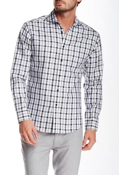 Imbracaminte Barbati Vince Camuto Gingham Plaid Long Sleeve Slim Fit Shirt Black-Grey Wide Gingham