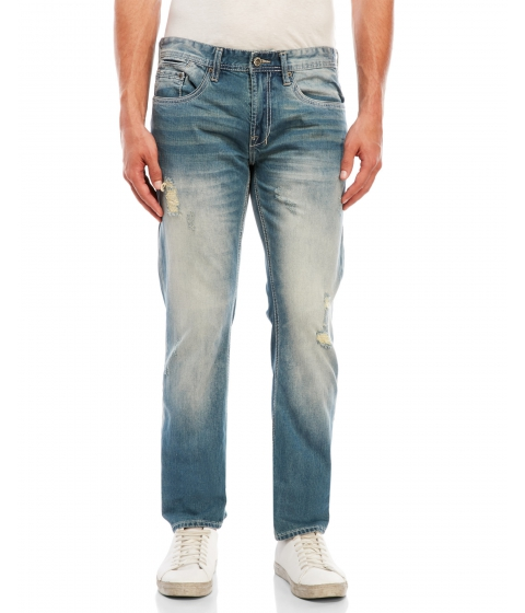 Imbracaminte Barbati Buffalo David Bitton Evan Slim Fit Distressed Jeans Sanded Denim Blue