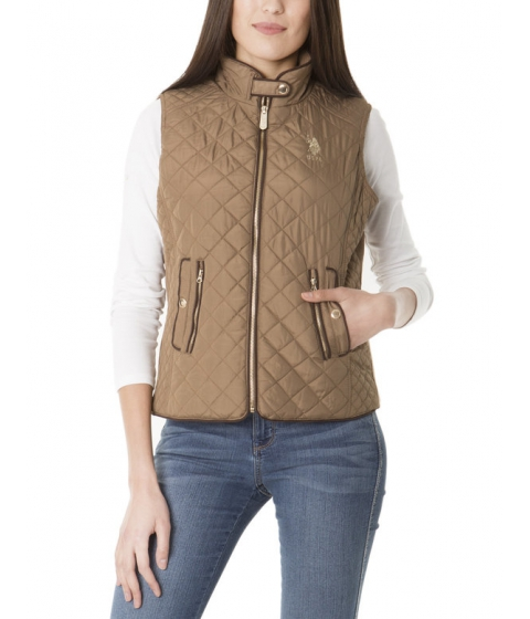 Imbracaminte Femei US Polo Assn QUILTED SIDE Panel VEST CARAMEL