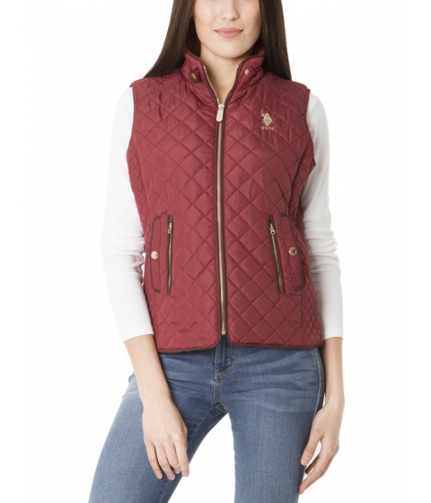 Imbracaminte Femei US Polo Assn QUILTED SIDE Panel VEST RUMBA RED