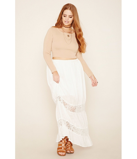 Imbracaminte Femei Forever21 Plus Size Lace-Panel Maxi Skirt Cream