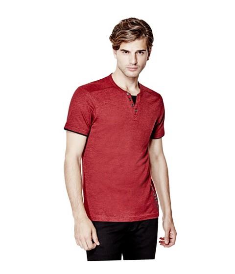 Imbracaminte Barbati GUESS Laec Short-Sleeve Marled Henley havana red
