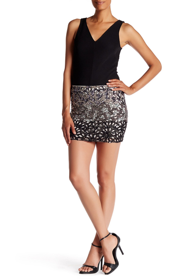 Imbracaminte Femei Alice Olivia Elana Embellished Mini Skirt OFF WHITE-BLACK-CHARCOAL