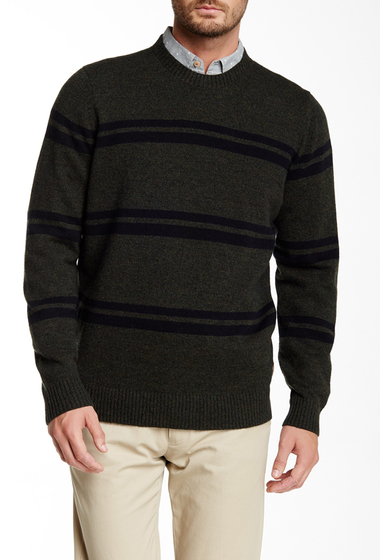 Imbracaminte Barbati Ben Sherman The Striped Crew Neck Wool Blend Sweater M45EVERGRE